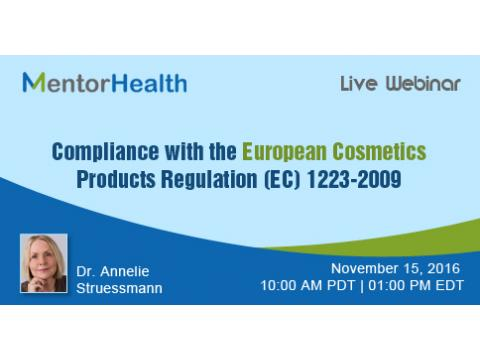 Compliance with the European Cosmetics Products Regulation (EC) 1223-2009 by MentorHealth