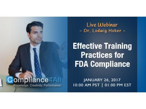 Effective Training Practices for FDA Compliance Web Conference by Compliance4all