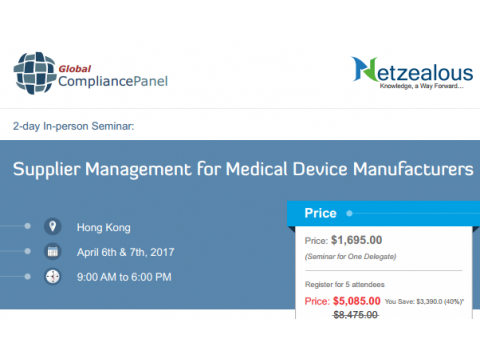 Supplier Management Conference for Medical Device Manufacturing in HONG KONG