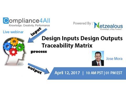 Design Inputs Design Outputs Traceability Matrix