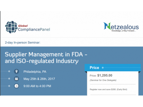 Supplier Management in FDA- and ISO-regulated Industry 2017-50% Discount