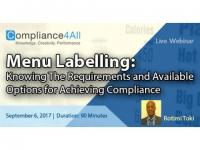 Menu Labelling - Available Options for Achieving Compliance 2017