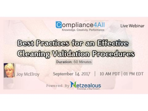 Best Practices & Effective Cleaning Validation Procedures - 2017