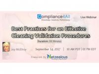 Best Practices & Effective Cleaning Validation Procedures - 2017