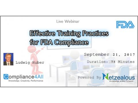 FDA inspectional - Training Practices for FDA Compliance - 2017