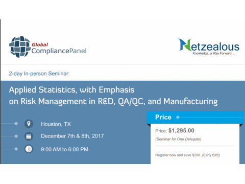 Applied Statistics, with Emphasis on Risk Management in R&D, QA/QC, and Manufacturing 2017
