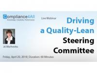 How a Quality and Lean Steering Committee can be Effectively Utilized