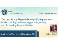 Drug Master Files and Quality Agreement Training Seminar 2018