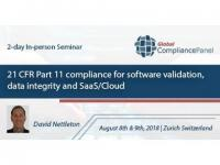 21 CFR Part 11 compliance for software validation, data integrity and SaaS/Cloud Seminar 2018