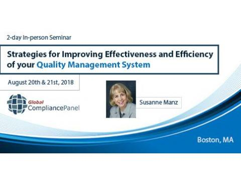 Strategies for Improving Effectiveness and Efficiency of your Quality Management System