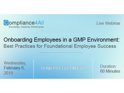 GMP Environment- Best Practices for Foundational Employee Success